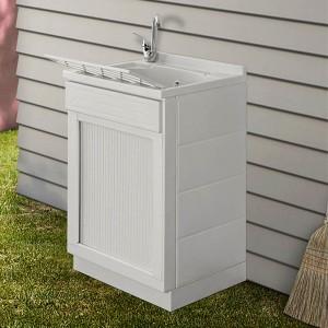 Mobile lavatoio 50x50 bianco con serranda vasca e asse lavapanni