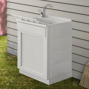 Mobile lavatoio 60x60 bianco con serranda vasca e asse strofinatoio