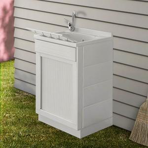 Mobile lavatoio 45x50 bianco con serranda vasca e asse lavapanni