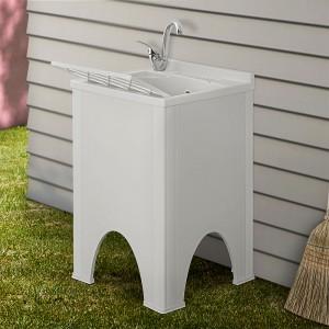 Mobile lavatoio Olimpo da esterno bianco con vasca, asse e kit scarico