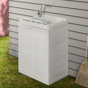 Mobile lavatoio salvaspazio 60x45 bianco con vasca e ripiano interno