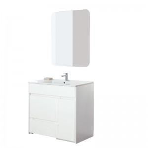 Mobile Bagno 90 a Terra Con Pouf Estraibile Vasca e Specchio Family Bianco