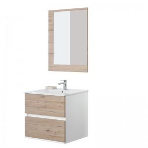 Mobile Bagno Sospeso 60x47 Lavabo e Specchio Fabula60 Rovere