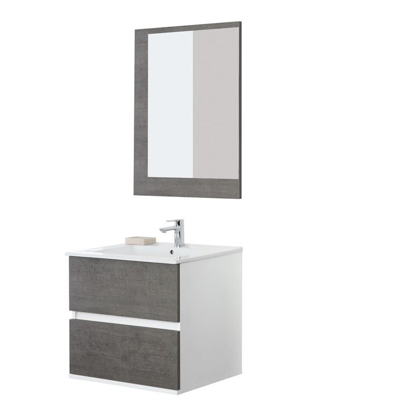 Mobile Bagno Feridras Mod.Fabula Cemento L.60xP.47xH.57 con Lavabo e Specchio