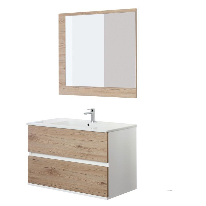 Mobile Bagno Sospeso Lavabo e Specchio rovere