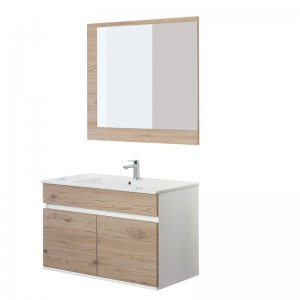 Mobile Bagno Rovere 2 Ante Sospeso Fabula L.90 con Lavabo e Specchio