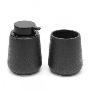 Set accessori bagno in ceramica nero effetto glitter