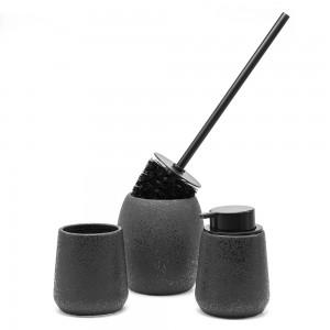 Set 3 accessori bagno da appoggio in ceramica nera con effetto glitter