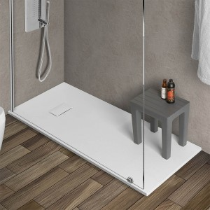 Piatto doccia 70x170 riducibile in resina pietra bianca serie Agorà
