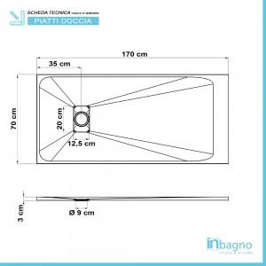 Scheda tecnica piatto doccia 70x170 filo pavimento Agorà in resina bianco pietra