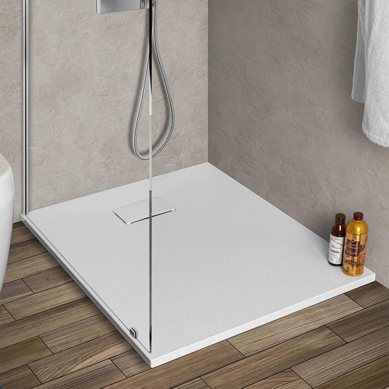 Piatto doccia in resina 80x100 serie Agorà bianco pietra su misura