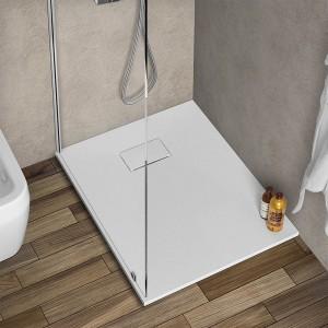 Piatto doccia 80x100 riducibile in resina pietra bianca serie Agorà