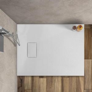 Piatto doccia Agorà 80x100 su misura in resina bianca effetto pietra