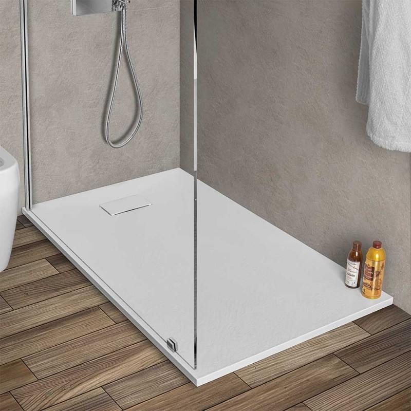 Piatto doccia filo pavimento 80x120 serie Agorà bianco effetto pietra