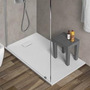 Piatto doccia 80x120 riducibile in resina pietra bianca serie Agorà