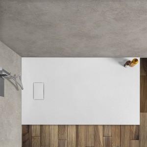 Piatto doccia Agorà 80x120 su misura in resina bianca effetto pietra