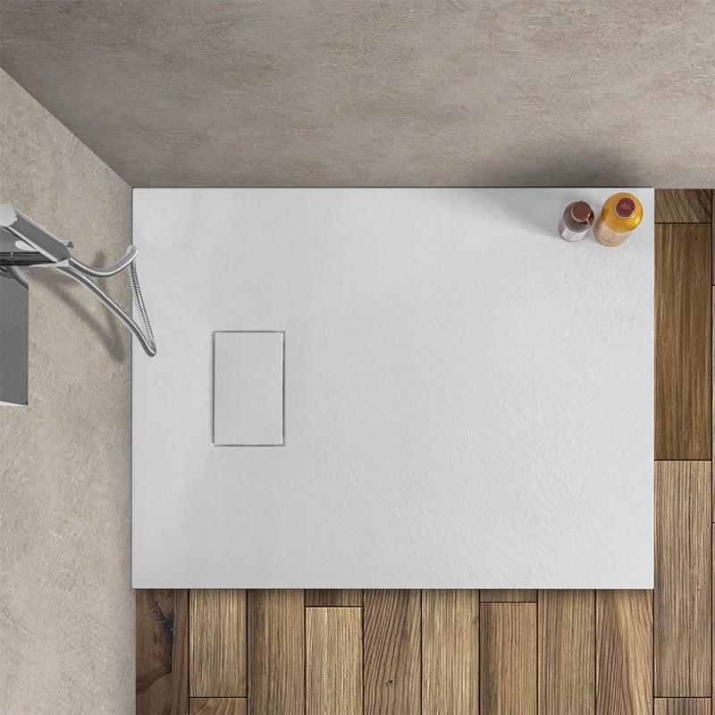 Piatto doccia 70x90 filo pavimento serie Agorà bianco effetto pietra