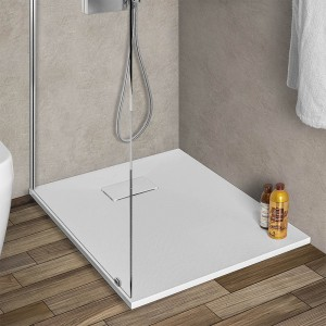 Piatto doccia Agorà 70x90 su misura in resina bianca effetto pietra