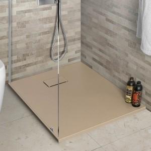 Piatto doccia 80x100 filo pavimento Agorà in resina pietra tortora