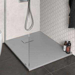 Piatto doccia 80x100 filo pavimento Agorà in resina grigio pietra