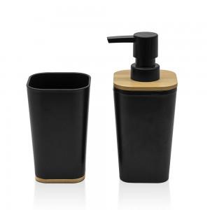 Set bagno dispenser e portaspazzolino nero opaco con dettagli in bambù