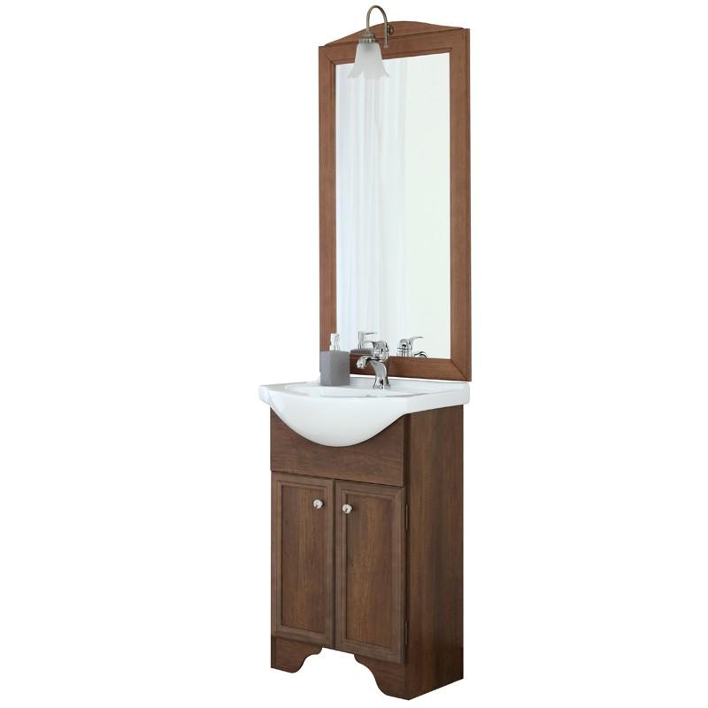 Arredo Bagno Stile Arte Povera.Mobile Bagno Stile Arte Povera Color Noce Due Ante Con Specchio Lampada E Lavabo L 56
