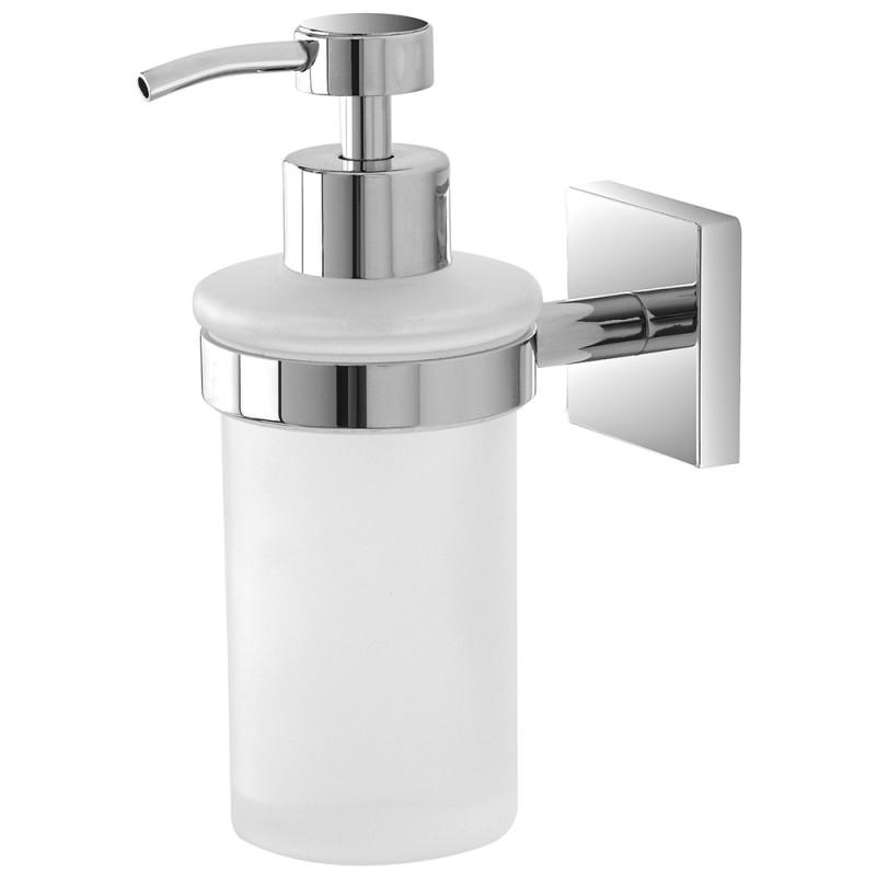 Porta Dispenser Cromato in Vetro con Doppio Fissaggio a Muro