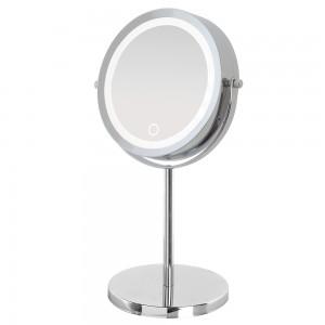 Specchio Beauty Appoggio Acciaio Cromato Luce LED ON/OFF Touch a Pile No Incluse