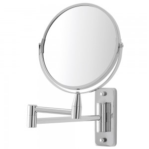 Specchio da Muro Acciaio Cromato con Braccio Orientabile e Doppio Specchio