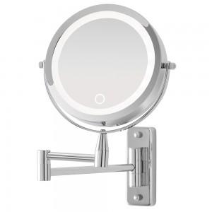 Specchio Beauty Muro Braccio Orientabile Acciaio Luce LED ON/OFF Touch a Pile