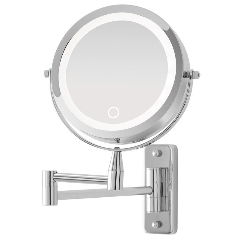Specchio ingranditore a Muro con Braccio Orientabile e Luce LED Touch