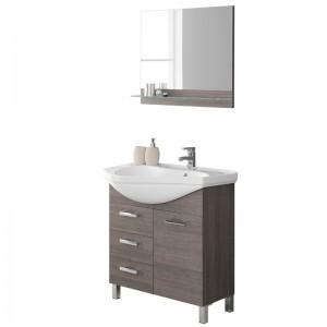 Mobile bagno con Lavabo di design e Specchio L.80 cm Rovere Scuro