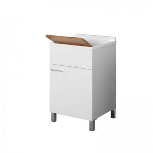 Lavatoio 45x50 con Tavoletta Bamboo Piletta e Sifone Bianco Mondo