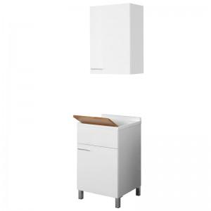 Mobile Lavatoio 1 Anta Bianco Lucido con vasca e asse online
