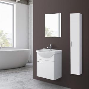Mobile Bagno Sospeso In Legno Bianco con Lavabo E Specchio L.56