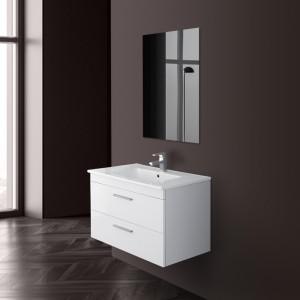 Mobile Bagno Sospeso Salvaspazio In Legno Bianco Con Specchio E Lavabo