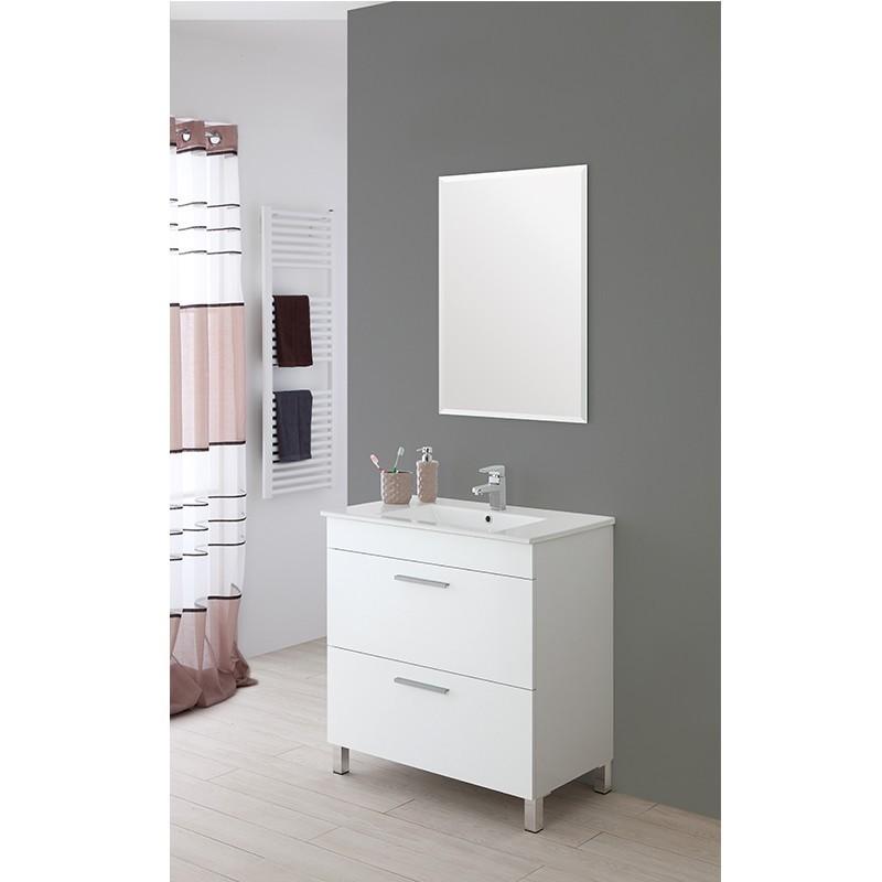 Mobile Bagno 81x47 Lavabo e Specchio 2 Cassetti Bianco Stella ...