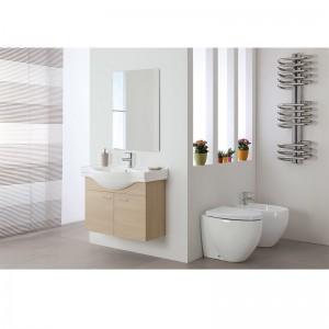 Mobile bagno sospeso L.80 legno Larice a 2 ante con lavabo e specchio