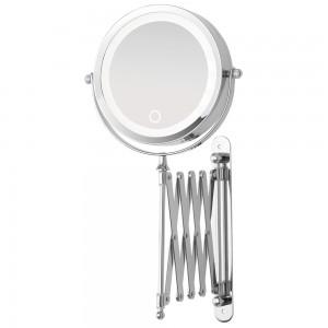 Specchio Beauty da Muro Acciaio Cromato Luce LED ON/OFF Touch a Pile No Incluse