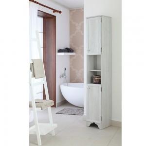 Colonna Alta Stile Arte Povera Bianco 2Ante Legno Massello