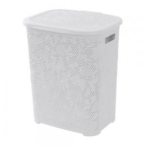 Portabiancheria in plastica bianco 50 lt con decori a fiori