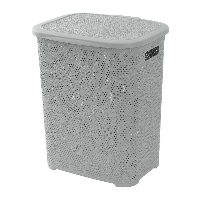 Porta biancheria in Plastica Grigio 50 Lt per Bagno o Lavanderia