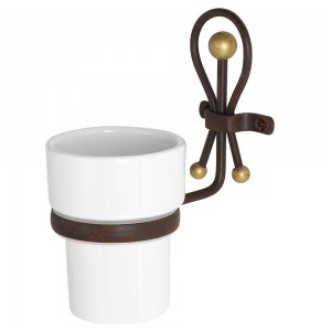 Portaspazzolino in Ceramica e Ferro Battuto