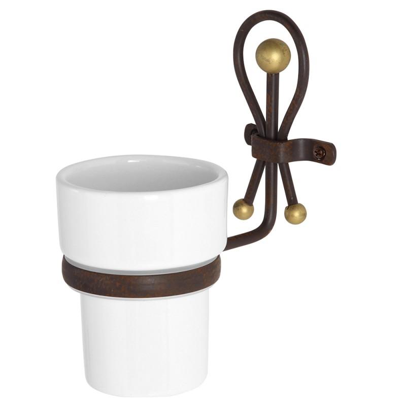 Portaspazzolini in ceramica con supporto a muro in ferro battuto