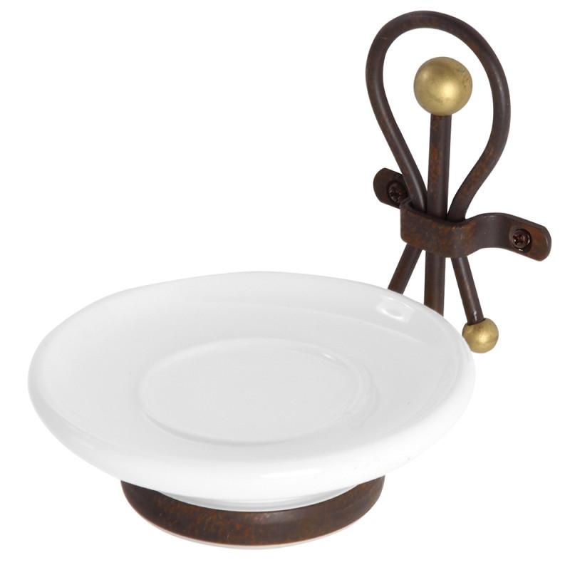 Portasapone in Ceramica e Ferro Battuto Liena Golden