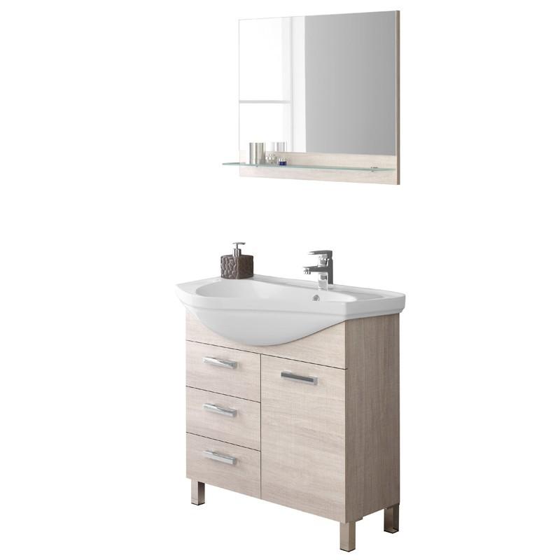 Mobile bagno Rovere chiaro con Lavabo e Specchio con mensola L.80 cm