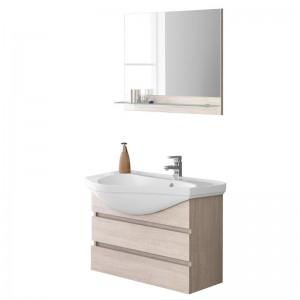 Mobile bagno Sospeso Rovere chiaro con Lavabo di design e Specchio con mensola L.80