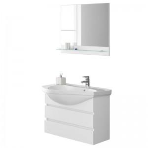 Mobile Sospeso 80 Lavabo Specchio Bianco Magnum