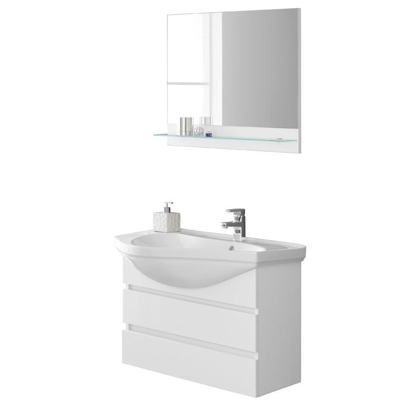 Mobile bagno bianco Sospeso con Lavabo di design e Specchio con mensola L.80