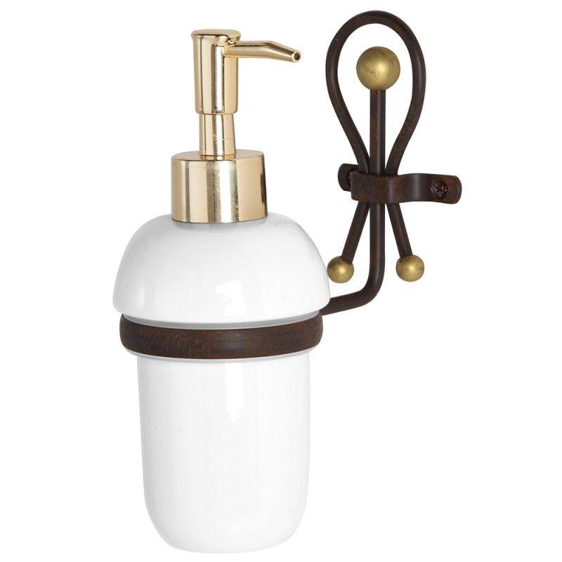 Portadispenser Sapone in Ceramica e Ferro Battuto Golden